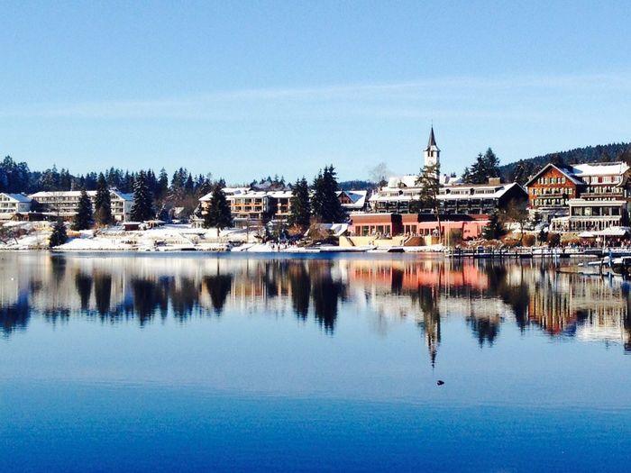 Winter Snow Lake View Reflection Water Beauty Nature Season  Blue Colors