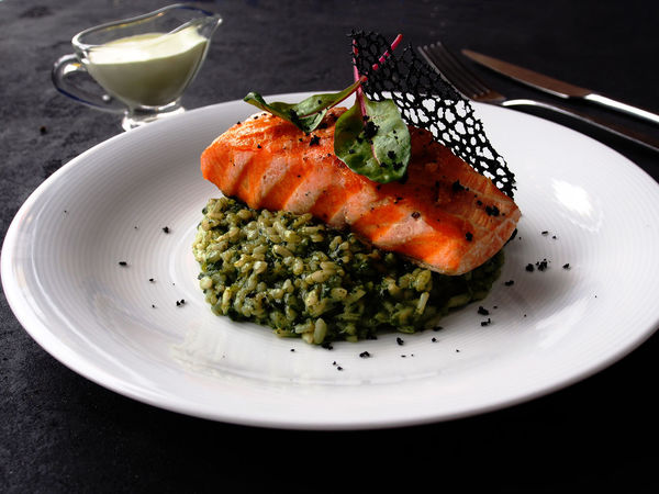 Fried salmon with rice and spinach Spinach Close-up Day Food Food And Drink Freshness Fried Salmon Healthy Eating Indoors  No People Plate Ready-to-eat Serving Size Table