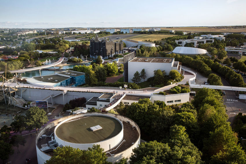 Futuroscope Theme Park Futuroscope Theme Park | Poitiers - France Futuroscope2017 Leisure Park Aerial View Architecture Building Exterior Built Structure City Day High Angle View No People Outdoors Sky Tree Water