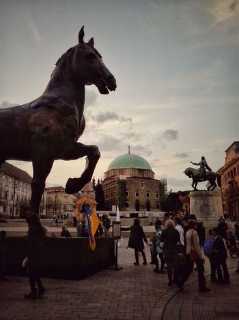 Statues David And Goliath Horse King Leonardo Da Vinci Mosque Pécs Vintage Sightseeing Travel Photography Travel City Hungary Perspective Da Vinci's Horse 2014 Mobile Photography Sights Composition EyeEm Best Shots From My Point Of View People