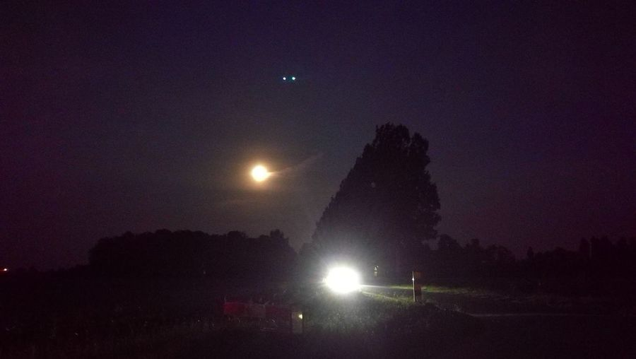 Polderlandschap Illuminated Night Astronomy First Eyeem Photo UFO Unindentified Flying Object