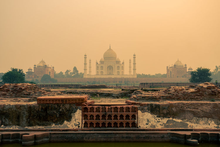 View of taj mahal against clear sky during sunset