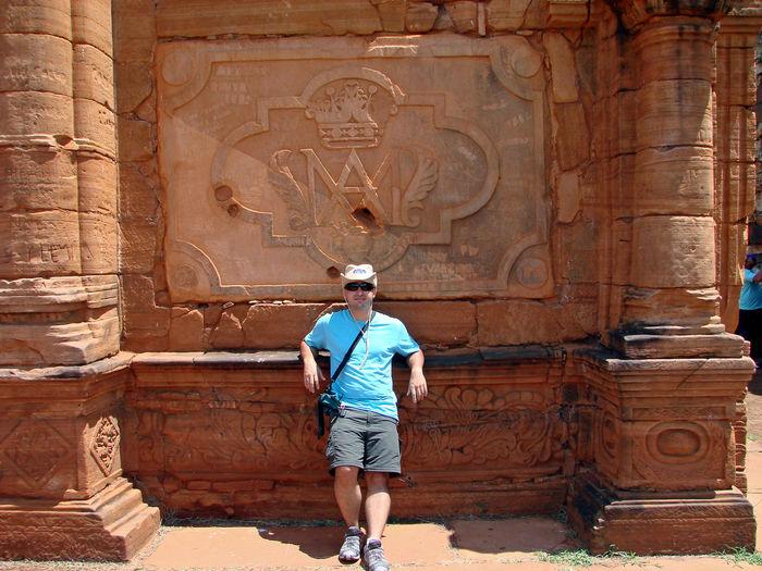 Full length of man standing by old ruins at san ignacio mini
