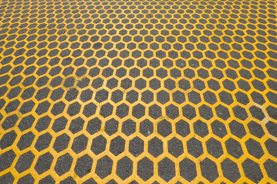 Architecture Asphalt Backgrounds Close-up Day Full Frame Hexagon No People Outdoors Pattern Pedestrian Crossing Repetition Textured  Yellow Color
