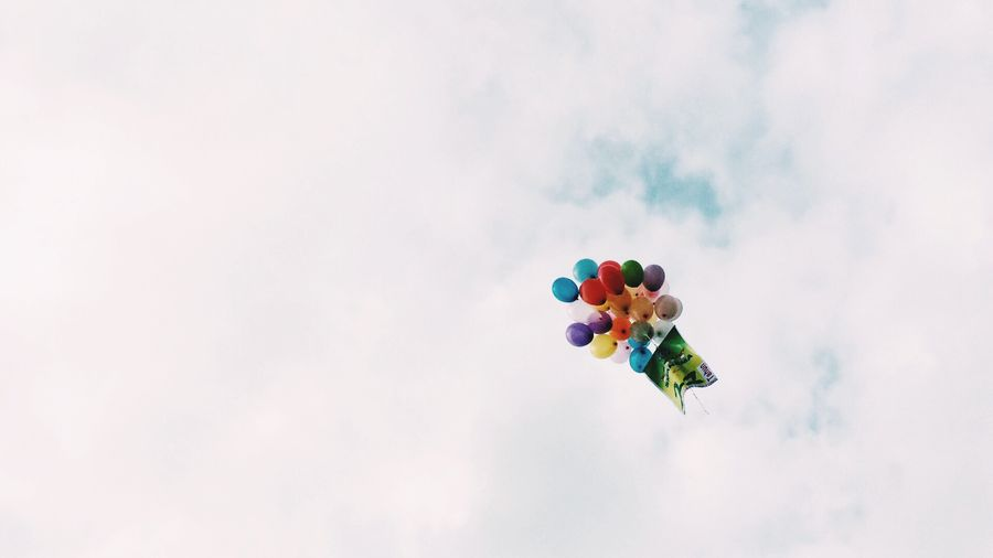 Balloons in the sky Low Angle View Flying Multi Colored Sky Day Outdoors Balloon No People Nature Fragility First Eyeem Photo