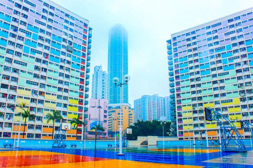 HongKong Choi Hung Estate Travel Basketball Colorful Rain Day