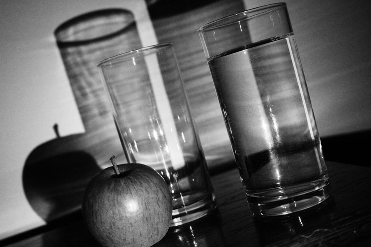 Blackandwhite Fruit Glass Light Light And Shadow Reflections Shadows Still Life Tilted Water First Eyeem Photo