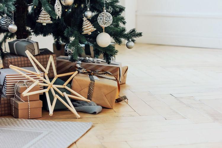 Christmas tree on floor at home