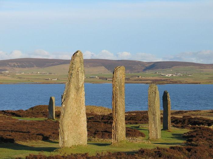 Stones On Lakeshore Against Sky