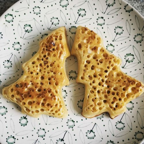 Christmas Tree Shaped Crumpets Bread Breakfast Breakfast Butter Christmas Christmas Tree Close-up Crumpets Festive Food Food Food Styling Indoors  No People On A Plate Plate Ready-to-eat Sesame Seed Shape Toasted Bread