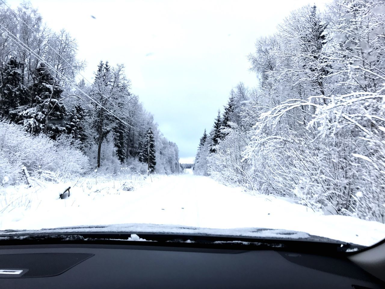 snow, cold temperature, winter, car, transportation, windshield, weather, mode of transport, land vehicle, nature, car interior, car point of view, white color, no people, cold, frozen, day, beauty in nature, tree, road trip, scenics, landscape, outdoors, sky, close-up