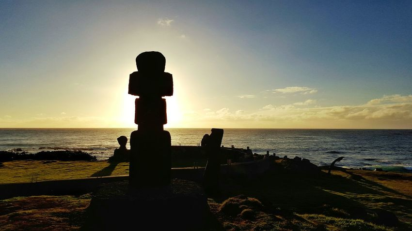 Travel Destinations Easter Island Rapanui  Moai Sunset Horizon Over Water Tourism Outdoors Light Illuminated Coulour Of Life