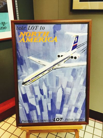 LOT Polish Airlines Poster Art Old Poster Il62 Old Airplane Aircraft Purple Airline Poster No People Close-up Day Indoors