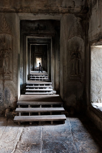 Cambodia Ancient Civilization Angkor Wat Architectural Column Architecture Belief Building Built Structure Full Length History Incidental People Place Of Worship Religion Spirituality Staircase The Past The Way Forward