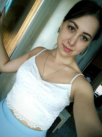 Portrait Young Women Beautiful Woman Smiling Selfie Looking At Camera Headshot Happiness Tank Top Close-up