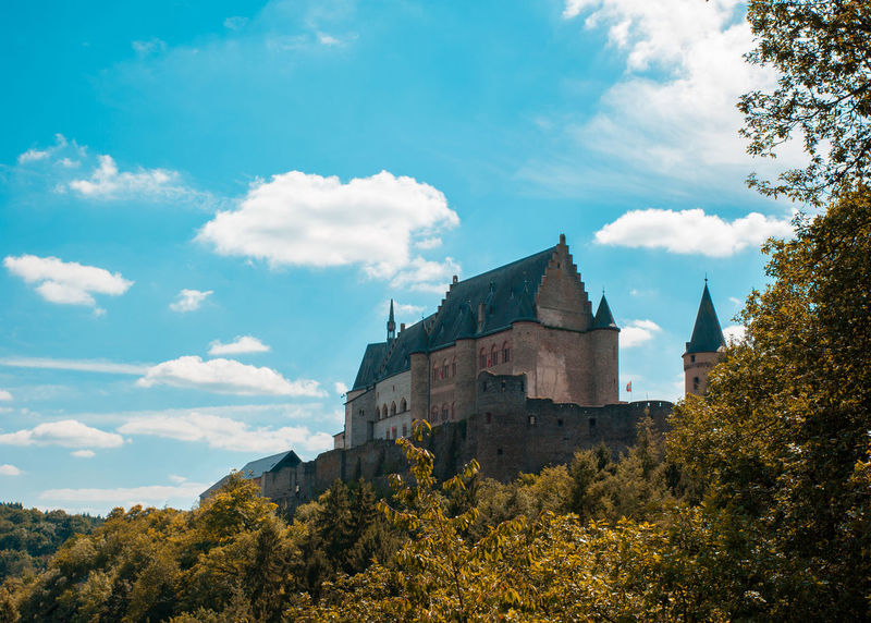 Vianden Castle Castle European  Historical Monuments Tourist Attraction  Architecture Benelux Building Exterior Built Structure Castle View  Cloud - Sky Clouds And Sky Europe Historical Historical Place Low Angle View Nature No People Old Outdoors Sky Tree Vianden Visiting