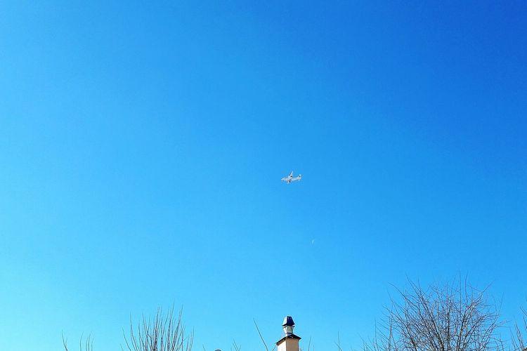 Blue Sky Clear Sky Outdoors No People Moon Day Gökyüzümavi Gokyuzu Bulutsuzluk Sakinlik Güneşli Baharhavası Ekinox Ankara/turkey Uçak ✈️ Uzak Pürüzsüz Gok