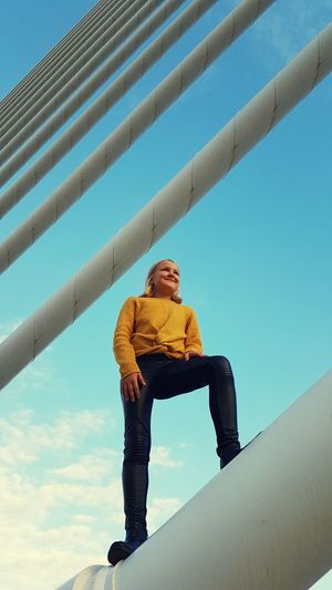 From the top Posing Child Childhood Smiling Leather Trousers Bridge - Man Made Structure Bridge Bridge View Blondy Girl Blonde Girl Valencia, Spain Full Length Standing Blue Sky Architecture Climbing Cable-stayed Bridge The Traveler - 2019 EyeEm Awards The Mobile Photographer - 2019 EyeEm Awards