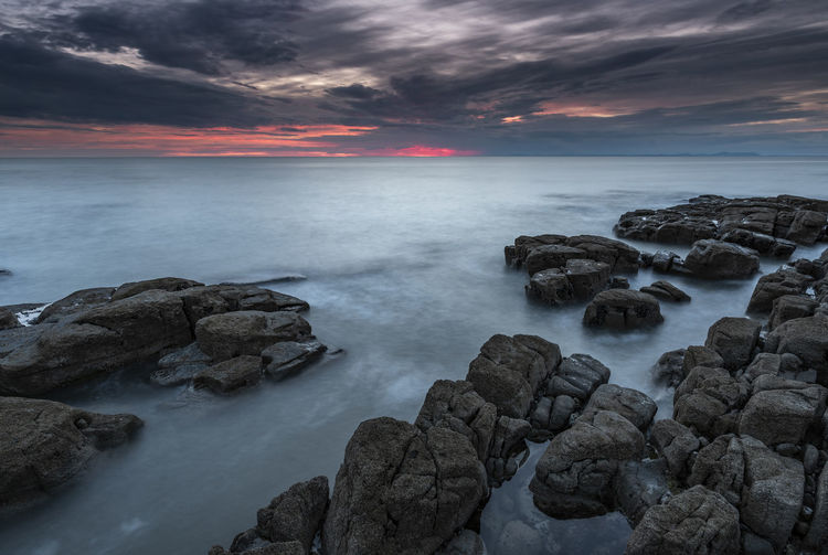 Seascape sunset off the Cumbrian west coast Deep Stranded Beach Weather Cumbria Seascape Sea Water Rock Rock - Object Solid Beauty In Nature Sky Tranquility Sunset No People Horizon Over Water Long Exposure