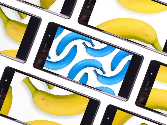 Banana Banana Peel Bananas Blue Blue Bananas Communicate Communicating  Communication Examine Frame Fruits Hi-tech Internet Modern No People Sharing  Sharing Ideas Sharing Photos Smartphone Frame Smatphone Tech Tech And Food Technology Viral White Background