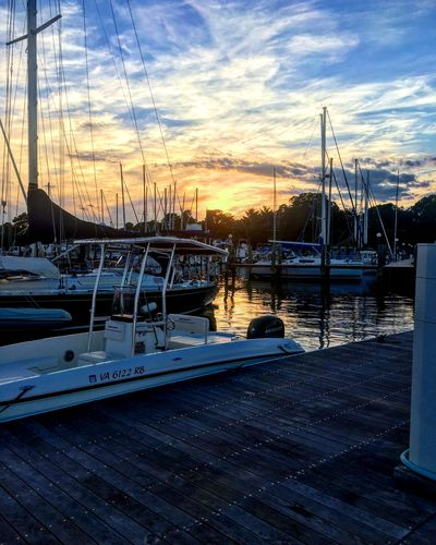 Cobia Tournament Sky Sunset Water Cloud - Sky Transportation Nature Nautical Vessel Mode Of Transportation Harbor Sailboat Beauty In Nature Sunlight Marina Mast Outdoors
