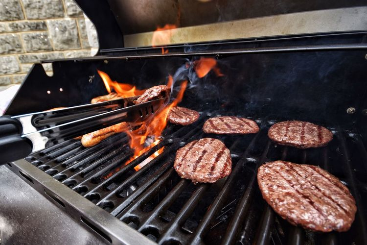 Barbecue burgers flames Barbecue Grill Grilled Heat - Temperature Flame Preparation  Food And Drink Meat Preparing Food No People Close-up Freshness