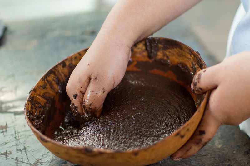 Cropped image of person preparing hot chocolate in bowl