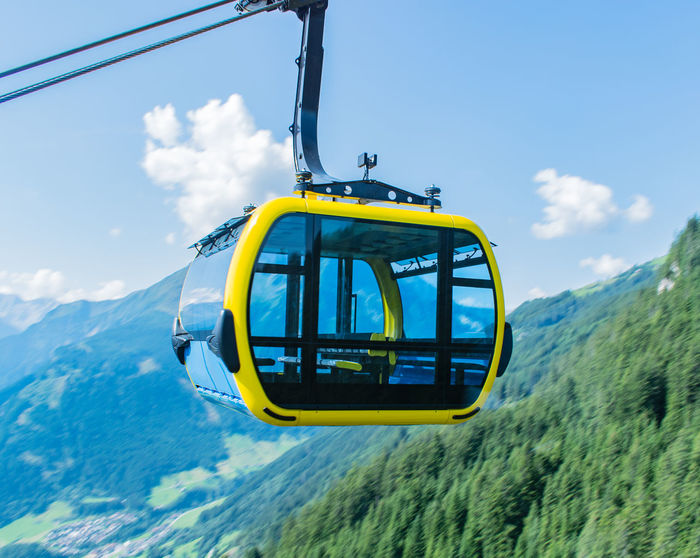 cable railway in Austria Mayrhofen in Zillertal Austria Cable Railway Gondola Mayrhofen Ski Lift TOP STation Zillertal Alps Alps Forest Gondola Lift Mountain Mountains Summer Summit Tyrol Wire Rope Zillertal