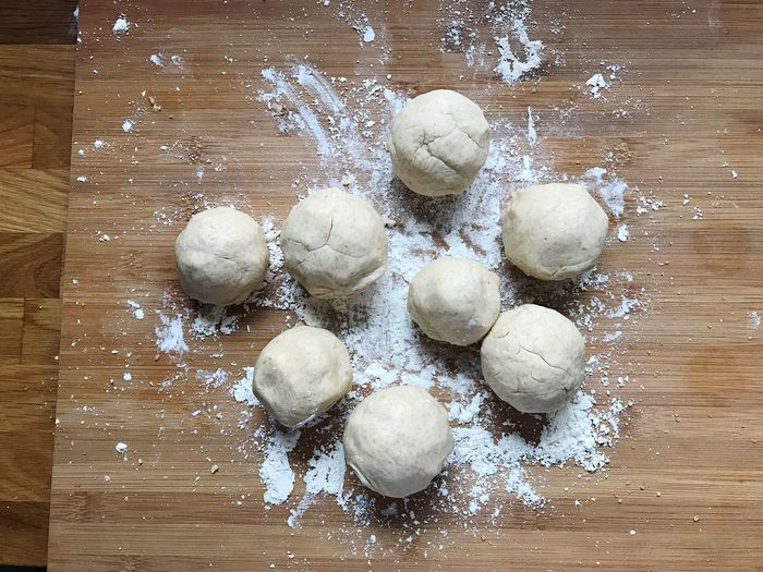 Apricot Dumplings Plum Dumplings Dumplings Cutting Board High Angle View Dough Preparation  Indoors  Food And Drink Food Flour Farina Fruit Baking Cooking Homemade Pastry Freshness No People Sweet Food Wood - Material Dessert Foodphotography Brown White