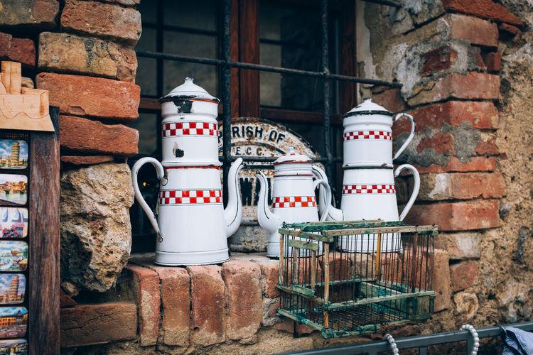 Teapots On Old Window Sill