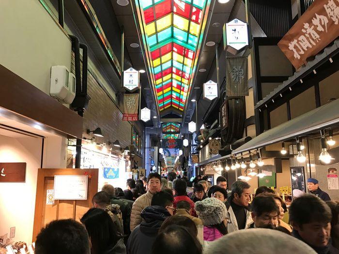 錦の朝は早く、大晦日の活気、卵焼き買うのに数時間…💦 Large Group Of People Crowd Illuminated Indoors  Men People Adult 神戸から大晦日の京都に、いたずらに混んでない京都も錦だけは違っていた。