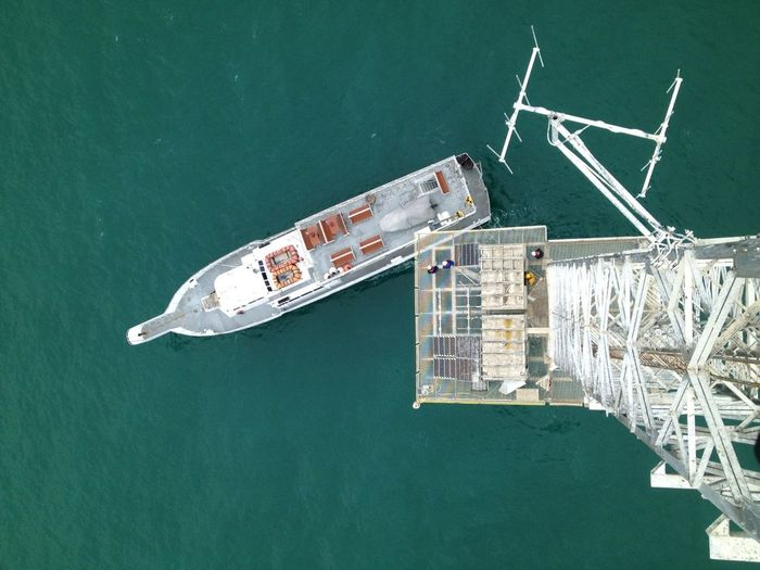 View of boat from 200' com tower 30 miles of the coast... A Bird's Eye View