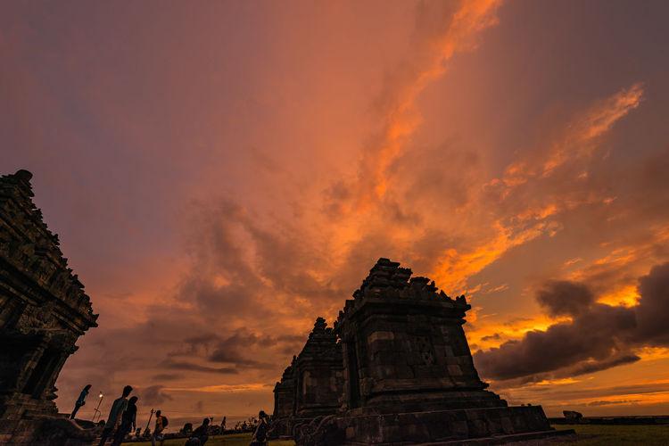 Ancient Ruins Building Jogjakarta Jogjakartatemple Red Red Sunset Sunset Temple Yogyakarta