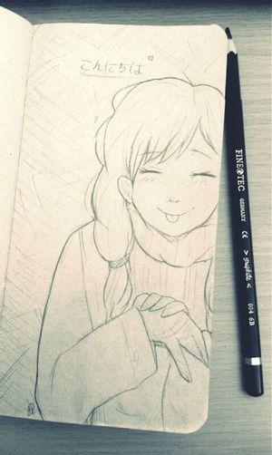 Anime Drawing Pencil Drawing Konichiwa Cute
