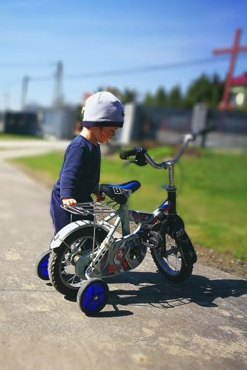 Childhood Sky Day Sport Bicycle One Person