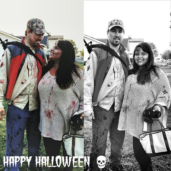 Our couple costume! Red neck Zombie Hunter and his Zombie! Halloween Zombie Zombiehunter Zombieapocalypse undead redneck