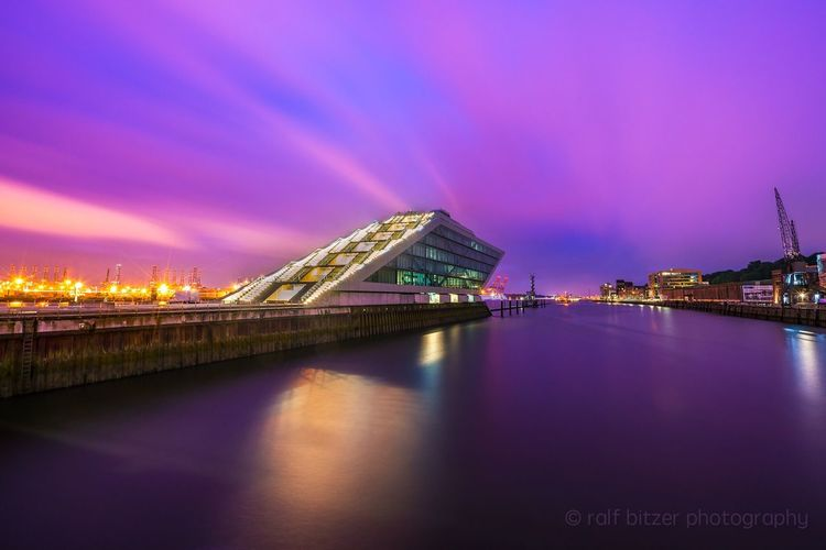 Illuminated Water Sky Night Architecture City River Built Structure Reflection Building Exterior No People Outdoors Waterfront Bridge - Man Made Structure Travel Destinations Suspension Bridge Cityscape Nature