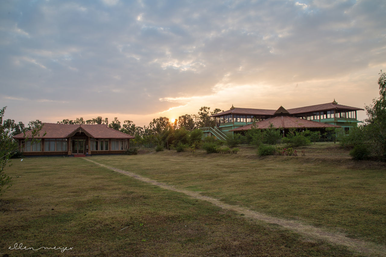 built structure, architecture, building exterior, house, sky, grass, sunset, cloud - sky, no people, nature, outdoors, landscape, scenics, tree, beauty in nature, day