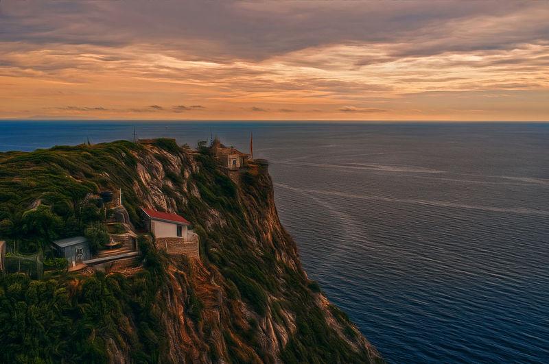 Holymountain X100tfujifilm Sky Beauty In Nature Horizon Over Water Horizon Idyllic Sea Sunset Tranquility
