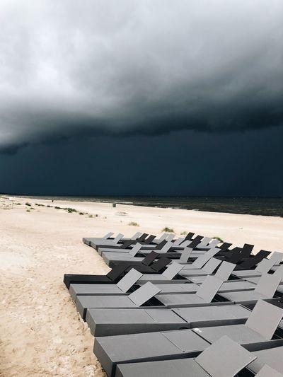 Storm Cloud Sky Sea Cloud - Sky Water Land Sand Beach