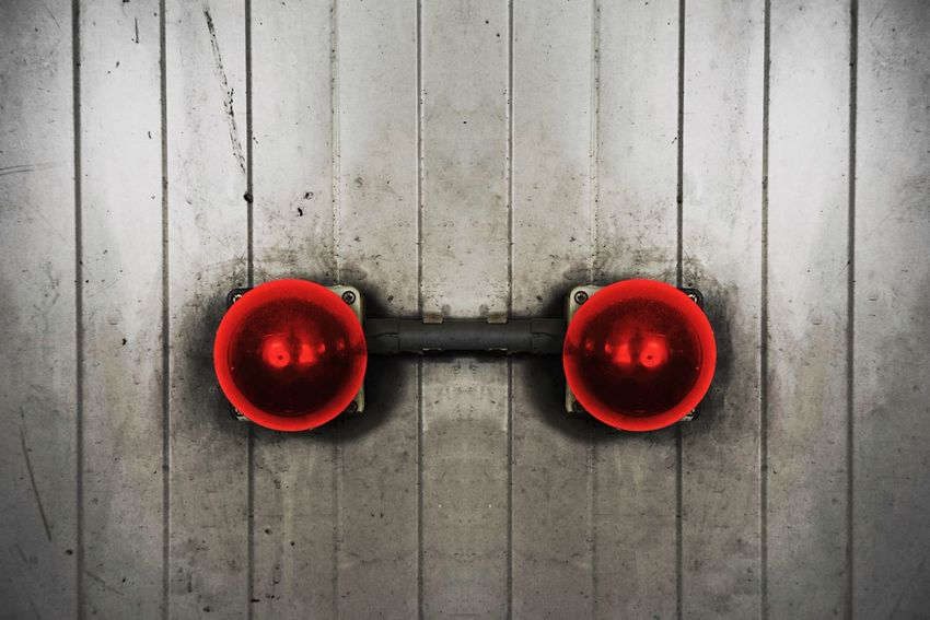 Signal Alarm Bell Red Directly Above No People Day Circle Two Objects Shape Geometric Shape Outdoors Wall - Building Feature Side By Side