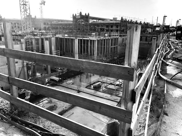 High angle view of construction site against sky