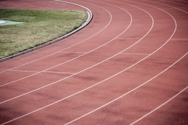 Athlete Track or Running Track with six numbers and lanes. Athlete Athletic Field Finish Line  Grass Lines Red Run Running Stadium Athletics Track Background Competition Competitions Healthy Lane Lanes Race Racetrack Running Track Sport Start Texture Track Track And Field Athlete