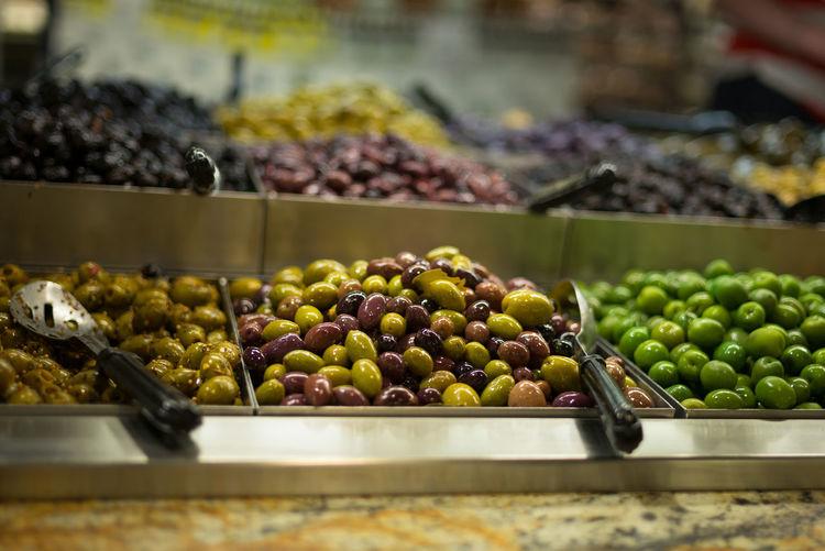 Olives in supermarket