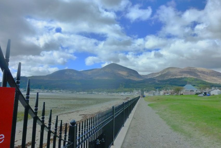 Beach Beauty In Nature Cloud - Sky Fence Mountain Mourne Mountains Newcastle Newcastle County Down Northern Ireland Sky Slieve Donard