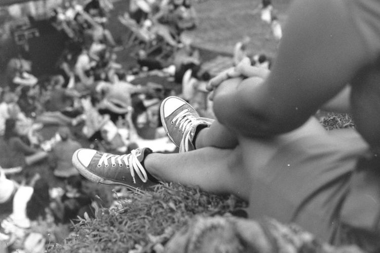 Blackandwhite Body Part Close-up Film Photography Girl Human Body Part Human Foot Human Leg Legs Leisure Activity Lifestyles Monochrome One Person Outdoors Real People Selective Focus Shoe Sneakers Women
