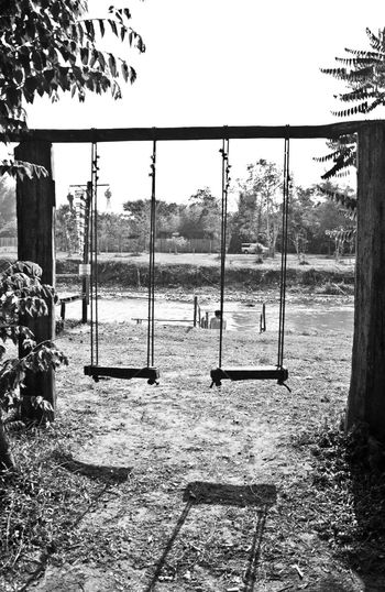 Empty Swing Swings Swing Black & White Photography Black And White River Riverside Tranquility No People