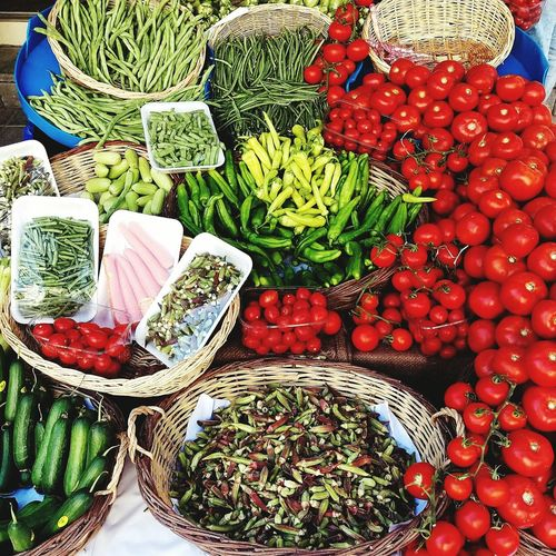 High angle view of various vegetables in market for sale