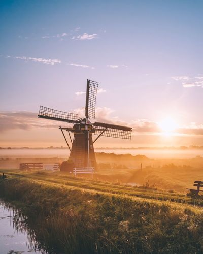 Dutch mornings Windmill Field Traditional Windmill Sky Nature Outdoors Rural Scene Landscape Beauty In Nature Day Morning Sunrise Mist Fog Netherlands Holland Cloud - Sky EyeEm Best Shots Travel Photography Traveling Travel Destinations No People Light Nature Be. Ready.