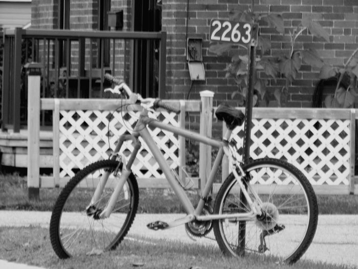 Street Photography series : Bike and number Street Number Streerphotography Black And White Photography Bicycle Land Vehicle Spoke Wheel City Parking Building Exterior Locked